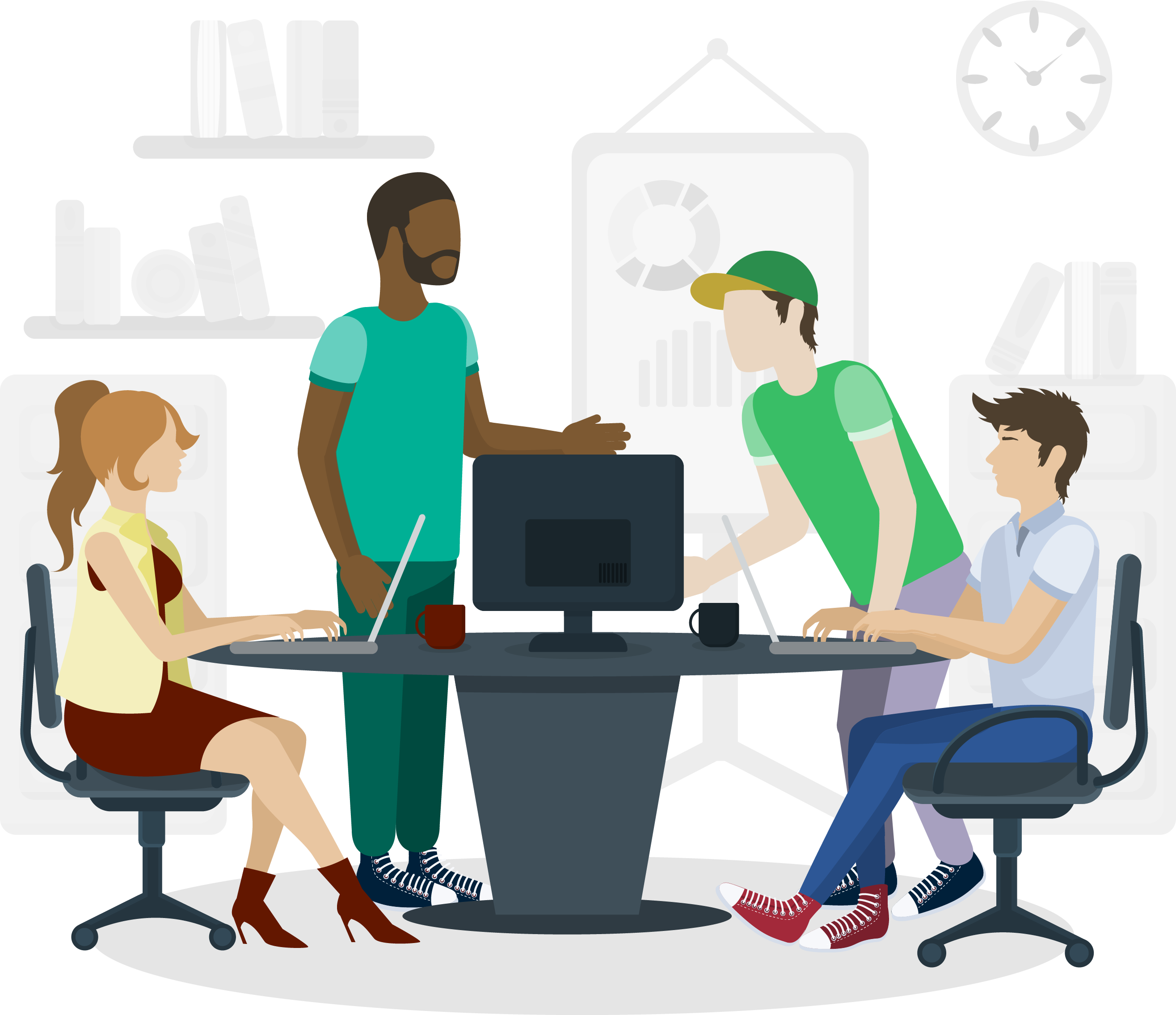 Illustration of Office workers discussing