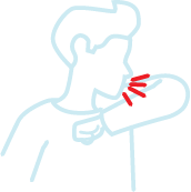 Elbow Cough line drawing